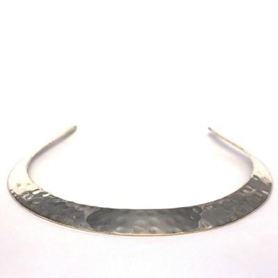 """Collier ras de cou en métal argenté """"Séléné"""" (colmet008)"""