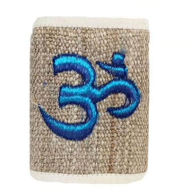 Portefeuille brodé en Chanvre du Népal - Ôm turquoise
