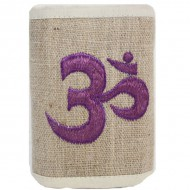 Portefeuille brodé en Chanvre du Népal - Ôm violet
