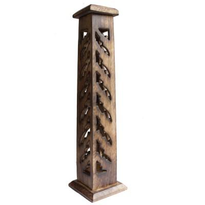 Porte Encens Vertical en bois sculpté (pegrt012)