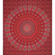 Tenture Indienne mandala et fleurs - Tapisserie murale rouge