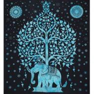 """Tenture Indienne """"Eléphant et Arbre"""" (tgm149t)"""