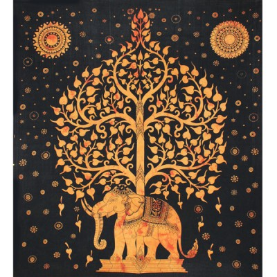 """Tenture Indienne """"Eléphant et Arbre"""" (tgm150o)"""