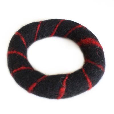 Bracelet Noir en Laine bouillie (brneplb02n)
