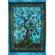 Tenture Indienne bleue symbolisant l'arbre de vie