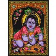 """Tenture Batik """"Bébé Krishna"""" (ptbfl10/2)"""
