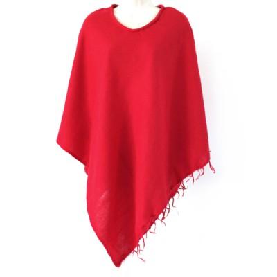 Poncho népalais rouge - 100% laine (ponchpal03/2r)