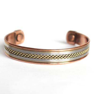 Bracelet Cuivre et Aimants Motif Tresse(brincui03/2)