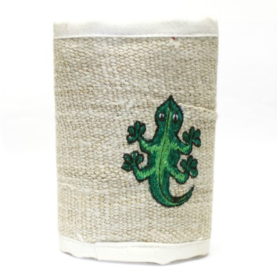 Portefeuille brodé du Népal - Lézard vert