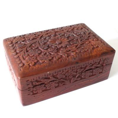 Boite indienne en bois sculptée (bteb009/2)