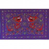 Tenture Brodée Violette - Tenture artisanale éléphants
