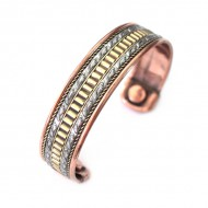 Bracelet ethnique en métal (Cuivre et Aimants)