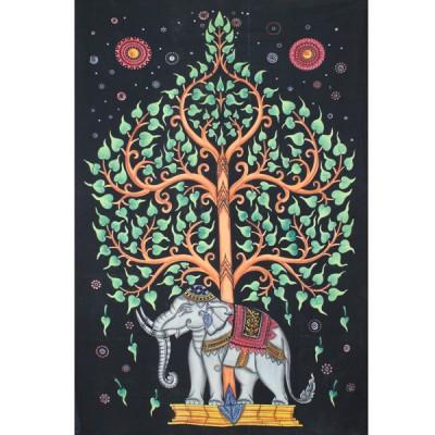 "Tenture Indienne ""Eléphant"" (tmm244)"
