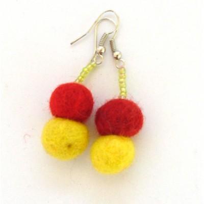 Boucles d'oreilles en laine bouillie(bolb013)