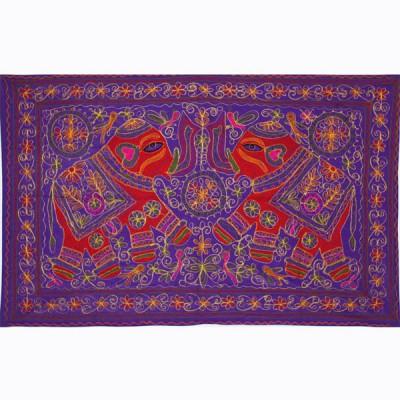 Tenture Brodée Violette - Eléphants (ptr065/2el)