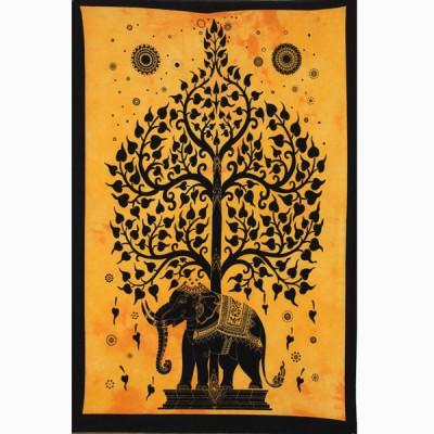 """Tenture Indienne """"Eléphant"""" (tptel01j)"""
