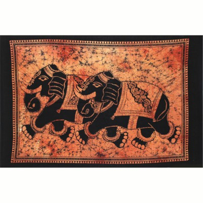 "Tenture Indienne ""Eléphants"" (tpt2el01o)"