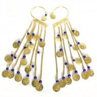 Tours d'oreilles Indiens bleu et or (binto006)
