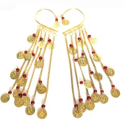 Tours d'oreilles Indiens rouge et or (binto007)