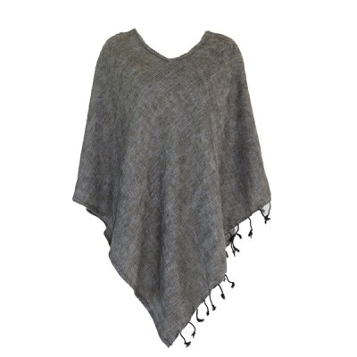 Poncho népalais gris-marron - 100% laine (ponchpal15m)