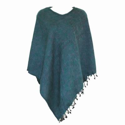 Poncho népalais vert - 100% laine (ponchpal16v)