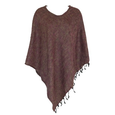 Poncho népalais couleur prune - 100% laine (ponchpal18p)