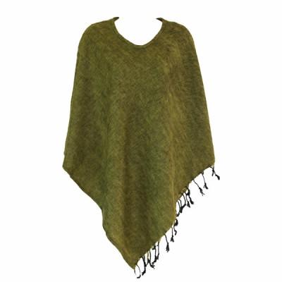 Poncho népalais vert clair - 100% laine (ponchpal19v)