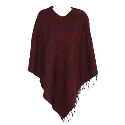 Poncho népalais rouge et noir - 100% laine (ponchpal21rn)