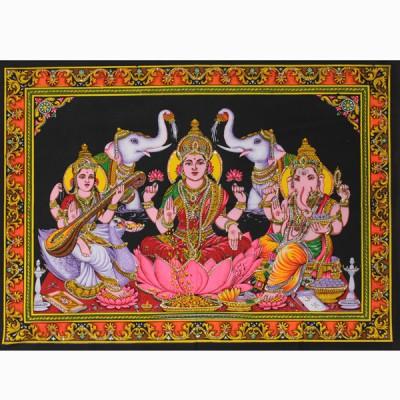"Tenture Batik ""Saraswati, Lakshmi et Ganesh"" (ptbfl18)"