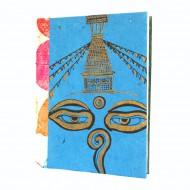 """Carnet en papier népalais motif """"Yeux de Bouddha"""" (cpnyb06g)"""