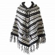 Poncho népalais - 100% laine (ponch04gm)