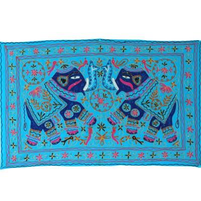 Tenture Brodée Bleue - Eléphants (ptr070el)