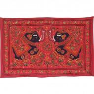 Tenture Brodée Rouge - Eléphants (ptr072el)