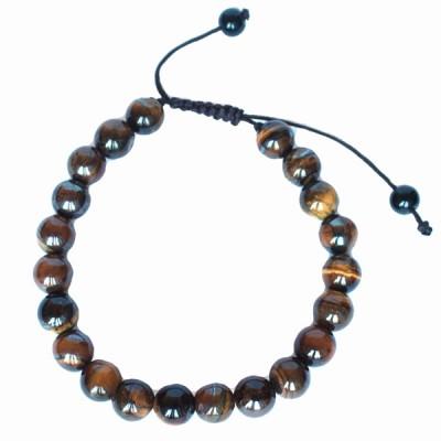 """Bracelet perles rondes """"Oeil de Tigre"""""""