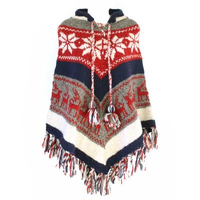 Poncho népalais - 100% laine (ponch01/2gm)