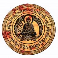 """Tenture Indienne Ronde """"Bouddha"""" (tptboud02jR)"""