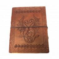 """Carnet cuir et papier Lokta - motif """"Pentagramme"""""""