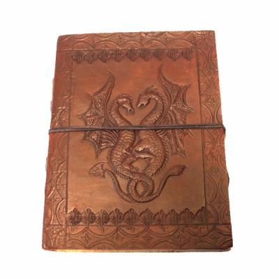 """Carnet cuir et papier Lokta - motif """"Dragons"""""""