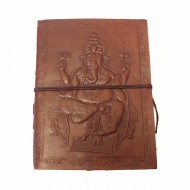 "Carnet cuir et papier Lokta - motif ""Ganesh"""
